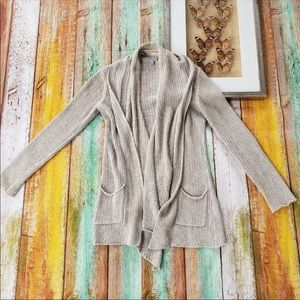 James Perse Open Front Draped Pocket Cardigan M